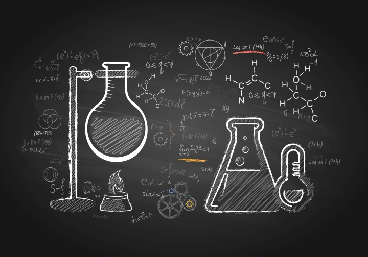 Pharmaceuticals, science on blackboard