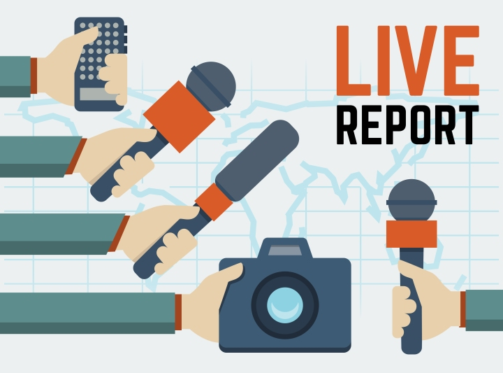 Vector live report, live news concept, hands of journalists with microphones, tape recorder and photo camera